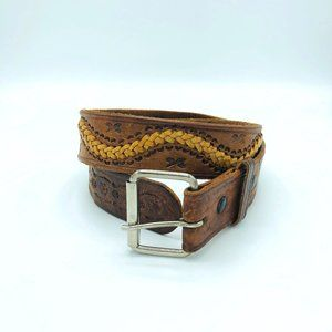 Vintage Tooled Braided Two Tone Leather Belt